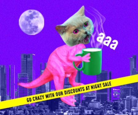 Platilla de diseño Funny Illustration of Dinosaur with Cat's Head Medium Rectangle