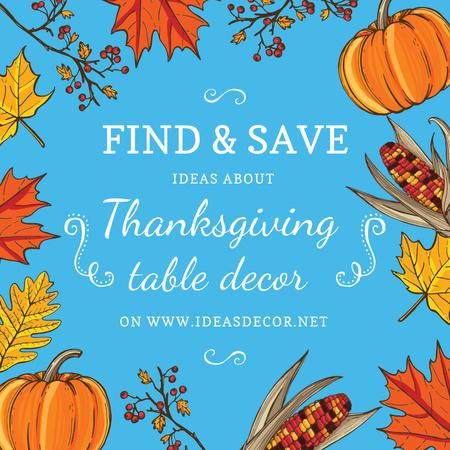 Thanksgiving Dinner invitation Pumpkins and Berries Instagram AD Modelo de Design