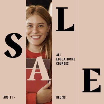 Educational Courses Sale with smiling Girl