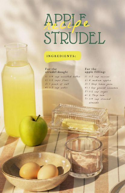 Apple Strudel Ingredients on Table Recipe Cardデザインテンプレート