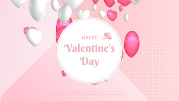 Flying Valentine's Day Hearts in Pink