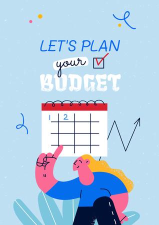 Ontwerpsjabloon van Poster van Girl planning Financial Budget