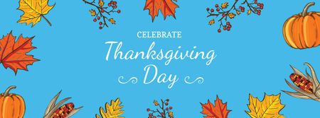 Thanksgiving Day Greeting with Leaves and Pumpkins Facebook cover – шаблон для дизайна