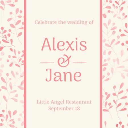 Wedding party Invitation on Leaves Pattern Instagram Design Template