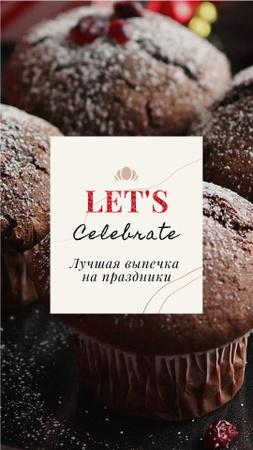 Winter Greeting Sweet Chocolate Cookies Instagram Video Story – шаблон для дизайна