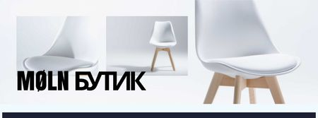 Furniture Store Offer with white minimalistic Chair Facebook cover – шаблон для дизайна