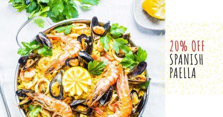 Spanish Paella party celebration Facebook AD Design Template