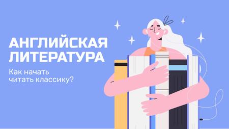 Girl Reading Books in English Youtube Thumbnail – шаблон для дизайна