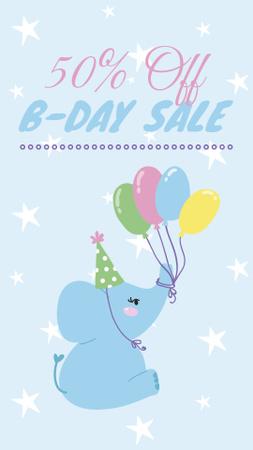 Ontwerpsjabloon van Instagram Story van Funny elephant with balloons for Birthday sale