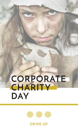 Charity Day Announcement with Poor Little Girl Instagram Story Modelo de Design