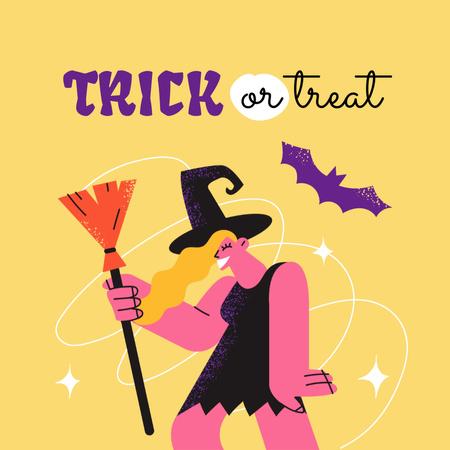 Halloween Mood with Cute Witch with Broom Animated Post – шаблон для дизайна