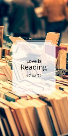 Plantilla de diseño de love is reading poster for bookstore Graphic
