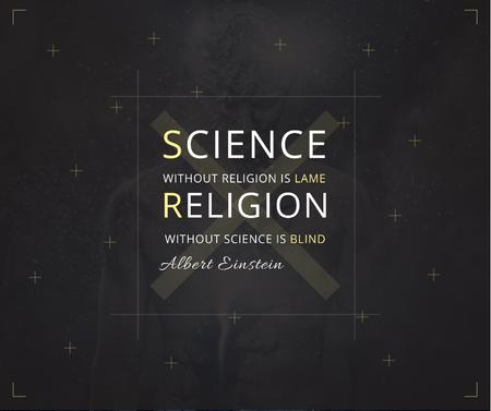 Science and Religion Quote with Human Image Facebook Modelo de Design