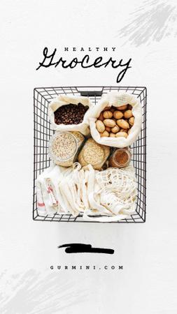 Plantilla de diseño de Healthy Grocery in Shopping Basket Instagram Story