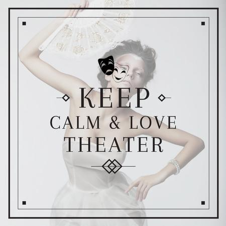 Theater Quote Woman Performing in White Instagram AD Modelo de Design
