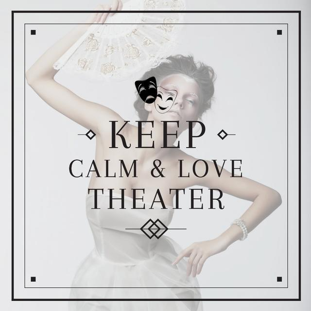 Theater Quote Woman Performing in White Instagram AD Design Template