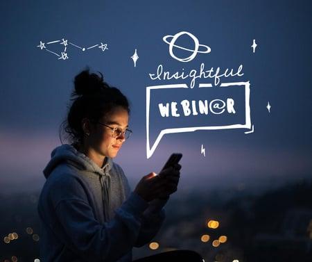 Plantilla de diseño de Blog Promotion with Girl using Smartphone Facebook