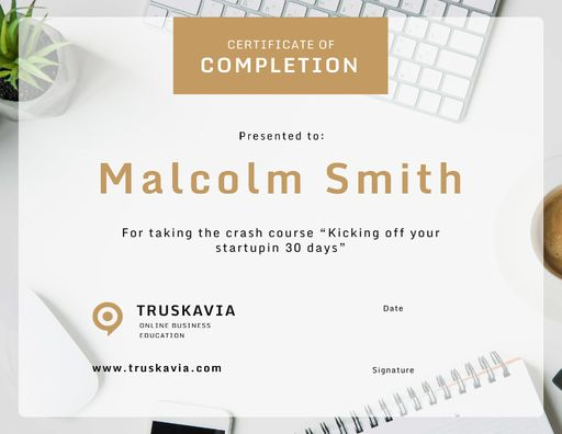 Online Business Course Completion Confirmation