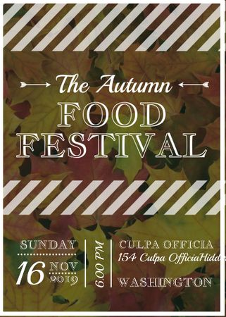 Autumn food Festival ad on Yellow Leaves Invitation Modelo de Design
