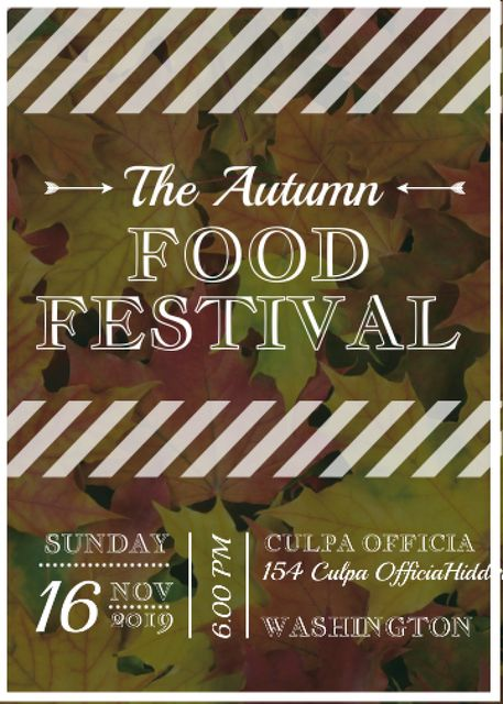 Template di design Autumn food Festival ad on Yellow Leaves Invitation