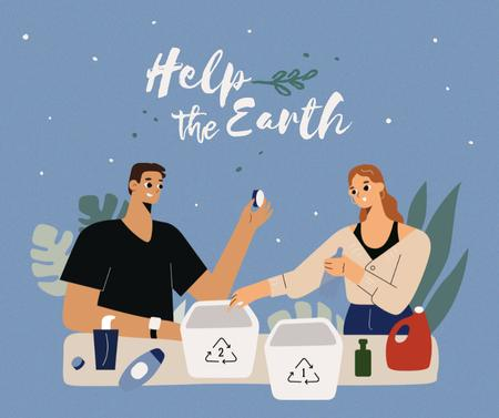 Ontwerpsjabloon van Facebook van Eco Concept with People recycling Products