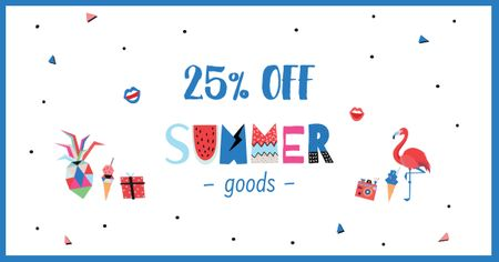 Modèle de visuel Summer Goods Discount Offer - Facebook AD