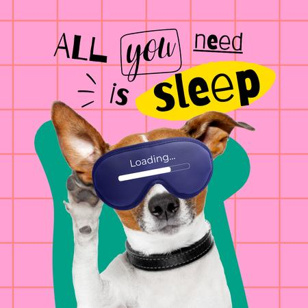 Template di design Funny Cute Dog in Sleep Eye Mask Instagram