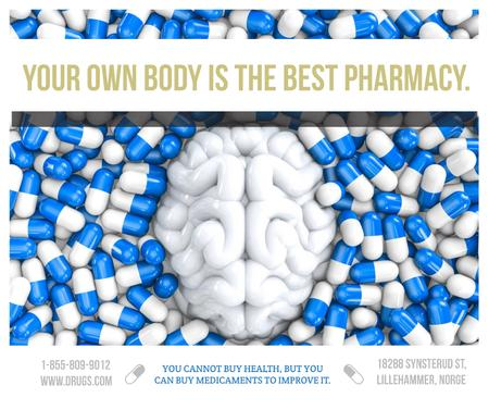 Pharmacy advertisement with brain and pills Facebook Modelo de Design