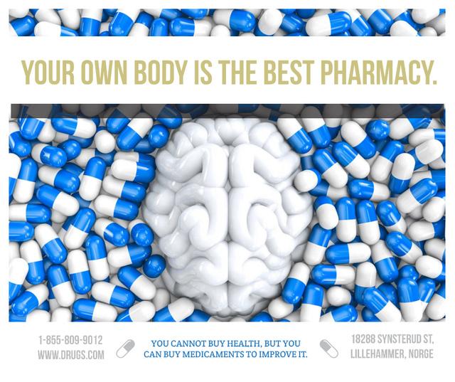 Pharmacy advertisement with brain and pills Facebook – шаблон для дизайна