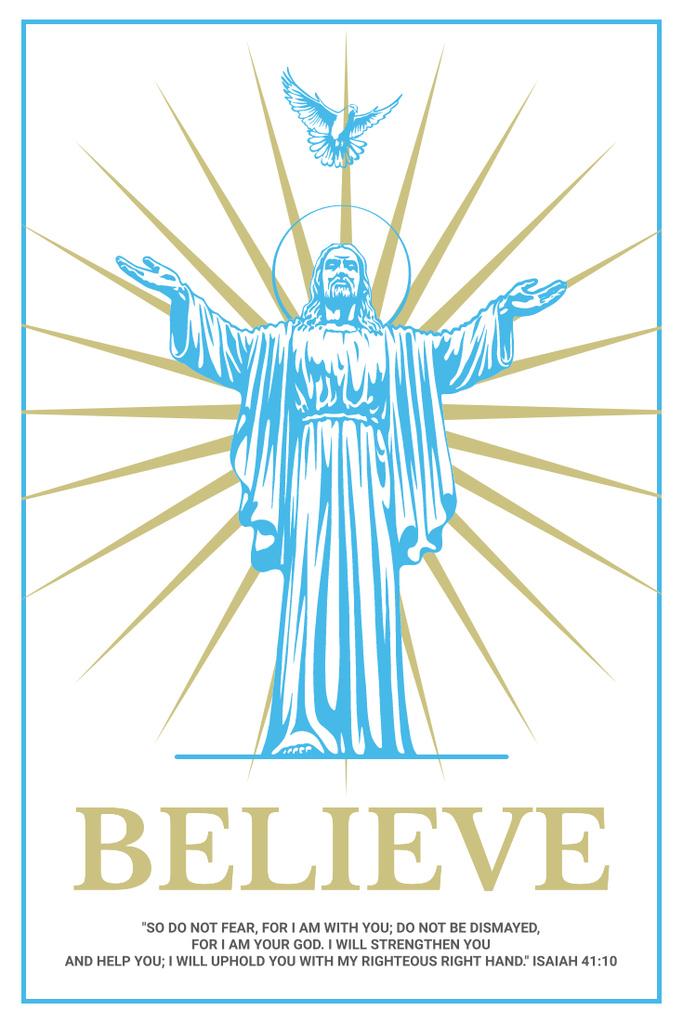 Religious Faith with Christ Statue in Blue — Créer un visuel