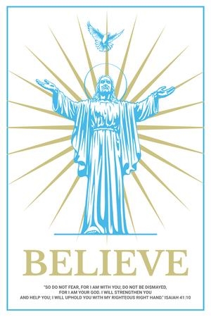 Religious Faith with Christ Statue in Blue Pinterest Design Template