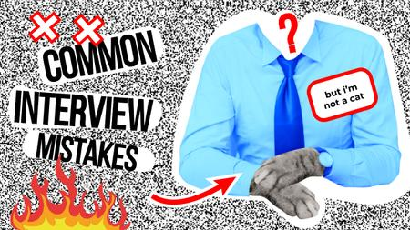 Ontwerpsjabloon van Youtube Thumbnail van Job Interview Tips with Businessman with Cat's Paws