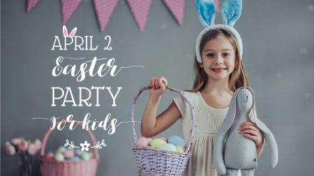 Ontwerpsjabloon van FB event cover van Easter Party Announcement with Girl holding Bunny
