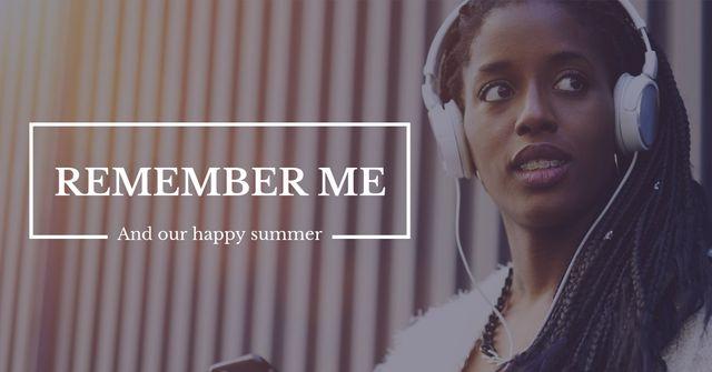 Woman in headphones listening music with Smartphone Facebook AD – шаблон для дизайну