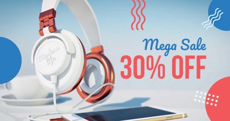 Template di design Gadgets Sale with Headphones and Smartphone Facebook AD