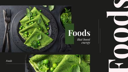 Healthy Green Pancakes on Black Youtube Design Template