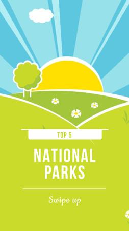 National Parks Ad with Bright Landscape Illustration Instagram Story Design Template