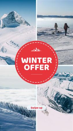 Modèle de visuel Winter Tour offer Hikers in Snowy Mountains - Instagram Story
