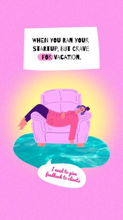 Plantilla de diseño de Funny Joke with Tired Woman in Chair Instagram Story