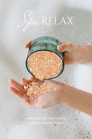 Plantilla de diseño de Spa Services Offer with Shiny Glitter in Cream Jar Pinterest