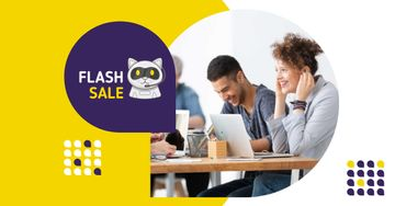 Flash Sale Ad with People working on Laptops