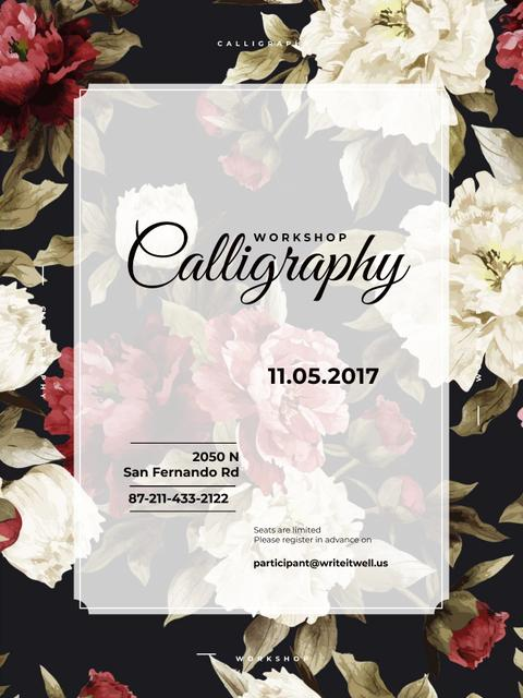 Calligraphy Workshop Announcement Spring Flowers Poster USデザインテンプレート