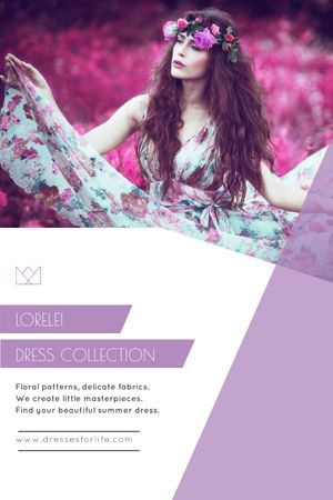 Fashion Collection Ad Woman in Floral Dress Tumblr Modelo de Design