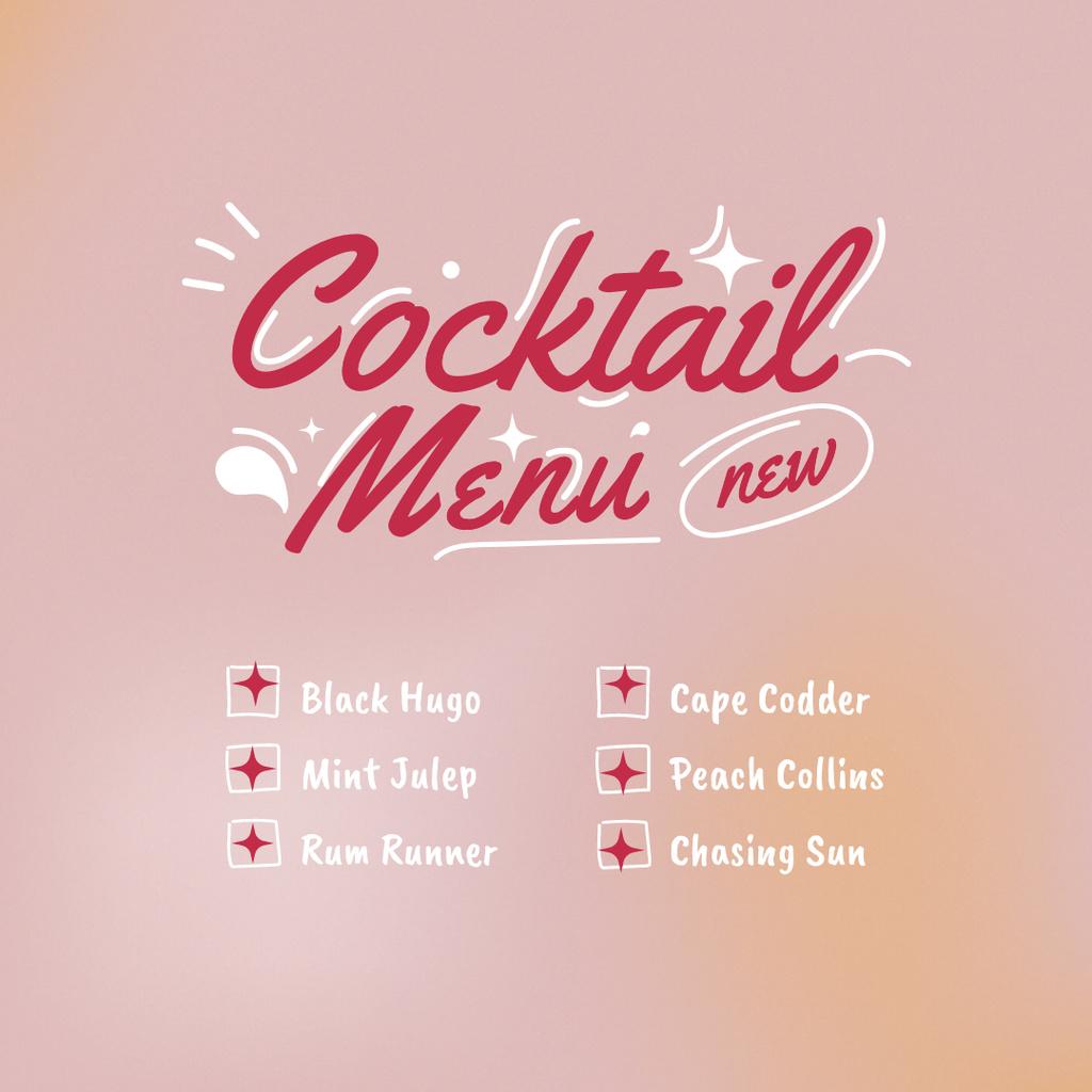 Summer Cocktails Menu Announcement Instagram Tasarım Şablonu