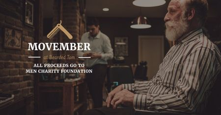 Szablon projektu Movember Ad Man with mustache and beard at barbershop Facebook AD