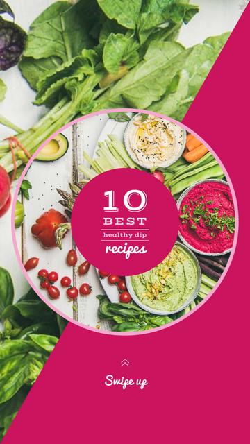 Ontwerpsjabloon van Instagram Story van Dips with greens and vegetables