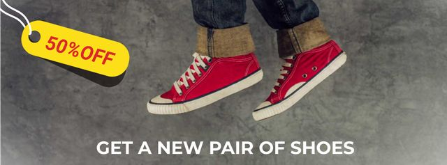 Running feet in red plimsolls Facebook Video cover Modelo de Design