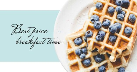 Template di design Breakfast Meal with Tasty Waffle Facebook AD
