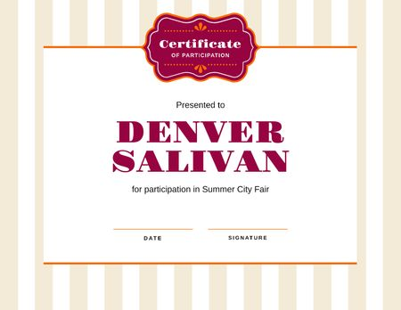 City Fair Participation confirmation Certificate Modelo de Design
