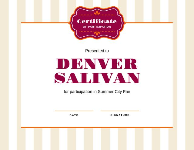 Plantilla de diseño de City Fair Participation confirmation Certificate